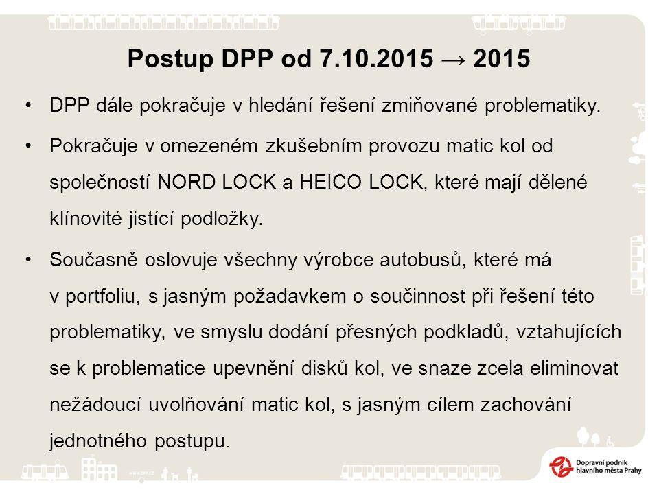 Dopravní podnik hl. m. Prahy, akciová společnost, navazuje na prezentaci PROBLEMATIKA UPEVNĚNÍ DISKŮ KOL, kterou představil na jednání SDP – OSA dne 7
