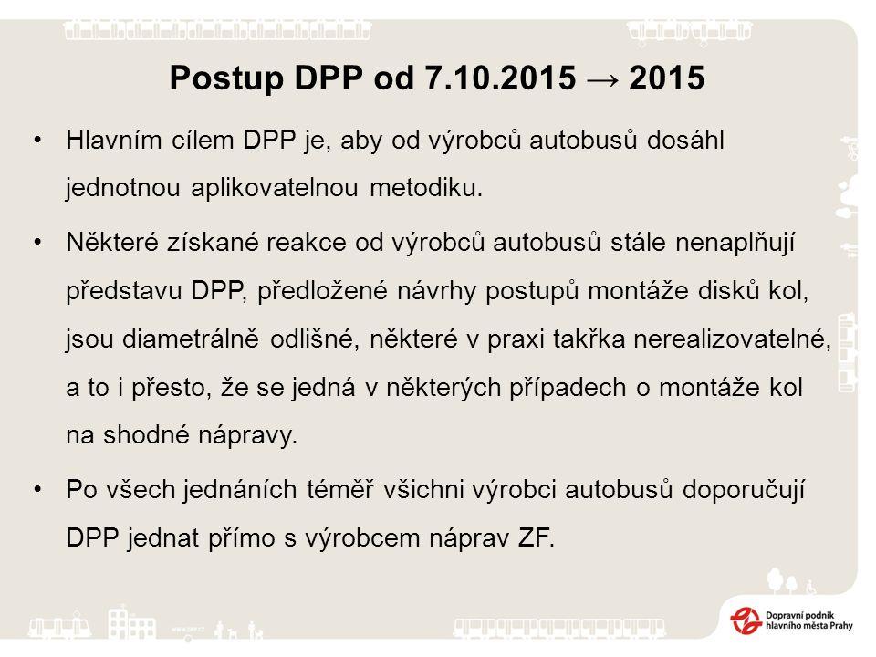 Postup DPP od 7.10.2015 → 2015 Intenzivně iniciuje několik přímých jednání s výrobci autobusů, které DPP provozuje. Mimo jiné prověřuje šrouby a matic