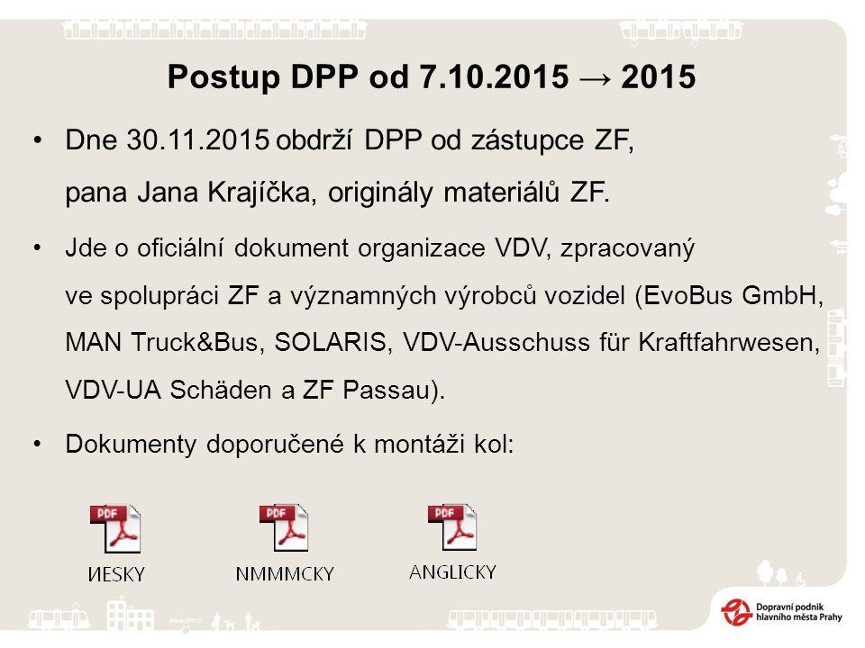 Postup DPP od 7.10.2015 → 2015 Tato jednání jsou organizována a vedena i v průběhu výstavy CZECH BUS 2015, a to jak s výrobci autobusů, tak i s výrobcem náprav ZF.