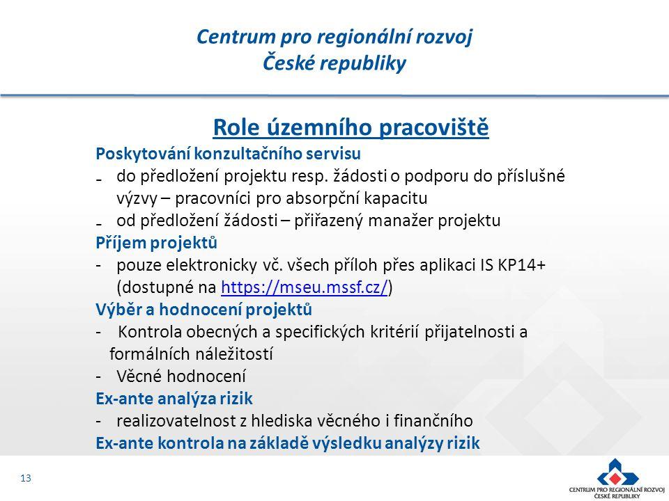 Centrum pro regionální rozvoj České republiky 13 Role územního pracoviště Poskytování konzultačního servisu ₋do předložení projektu resp. žádosti o po