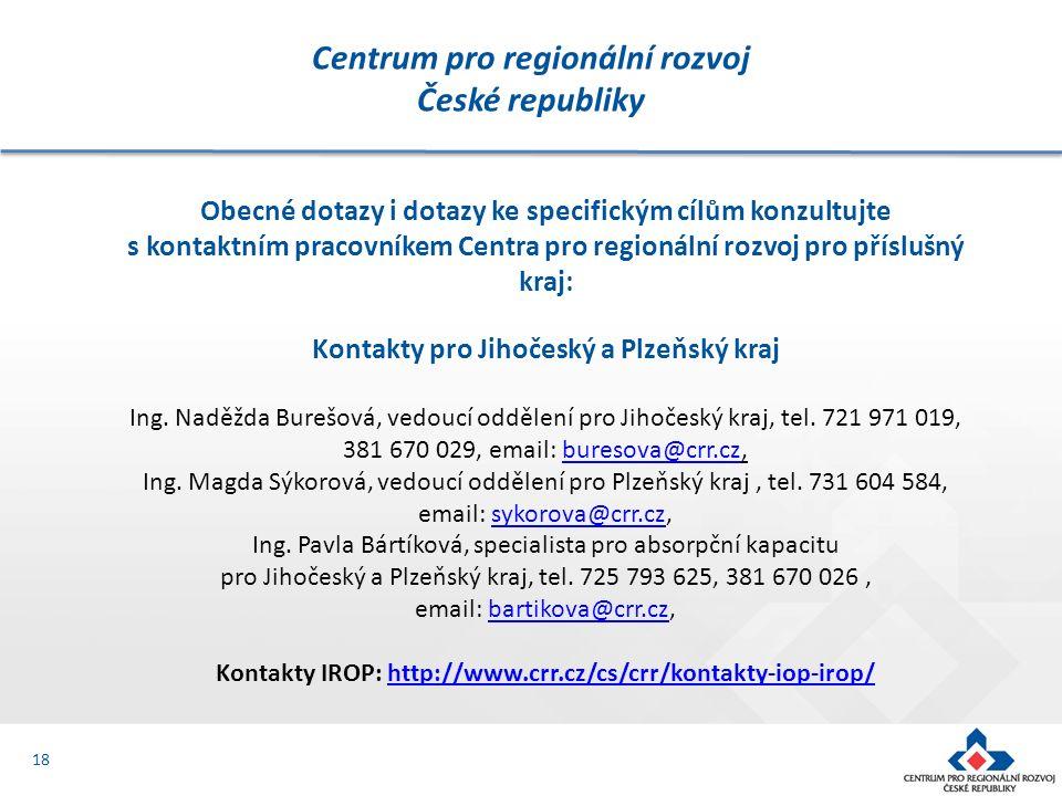 Centrum pro regionální rozvoj České republiky 18 Obecné dotazy i dotazy ke specifickým cílům konzultujte s kontaktním pracovníkem Centra pro regionální rozvoj pro příslušný kraj: Kontakty pro Jihočeský a Plzeňský kraj Ing.
