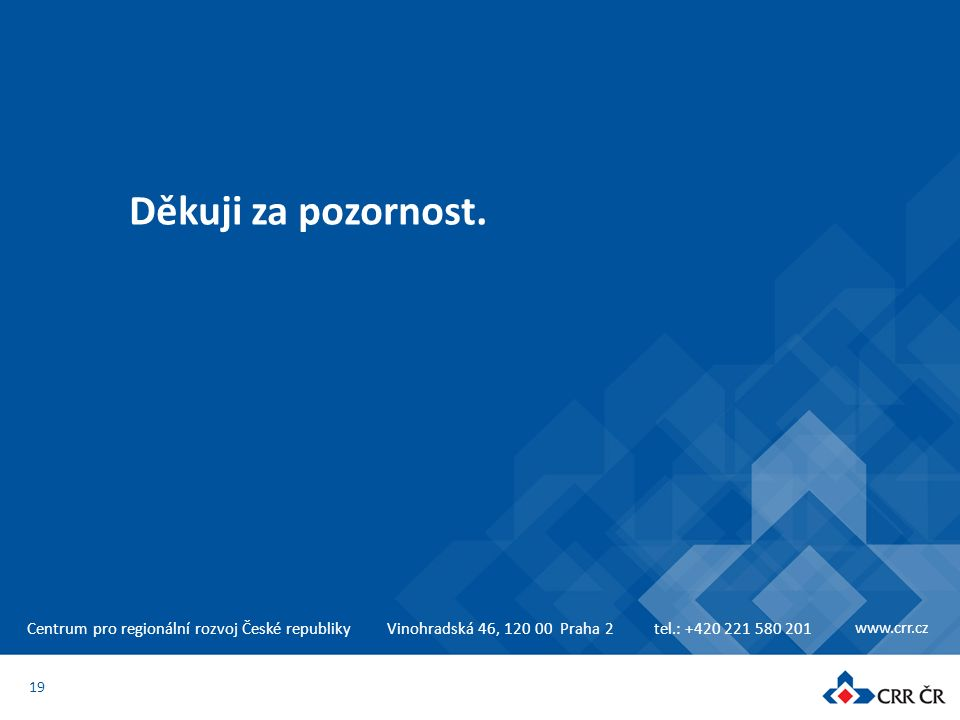 Centrum pro regionální rozvoj České republikyVinohradská 46, 120 00 Praha 2tel.: +420 221 580 201 www.crr.cz Děkuji za pozornost. 19