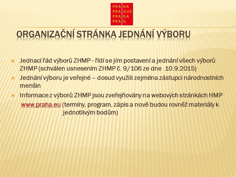  Jednací řád výborů ZHMP - řídí se jím postavení a jednání všech výborů ZHMP (schválen usnesením ZHMP č.