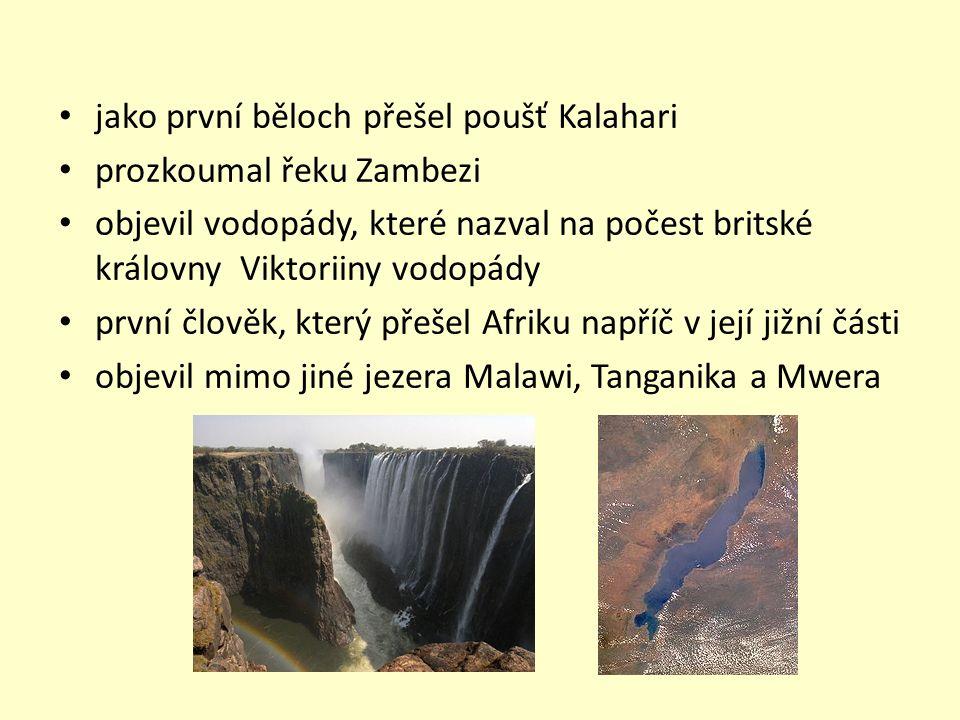 jako první běloch přešel poušť Kalahari prozkoumal řeku Zambezi objevil vodopády, které nazval na počest britské královny Viktoriiny vodopády první člověk, který přešel Afriku napříč v její jižní části objevil mimo jiné jezera Malawi, Tanganika a Mwera