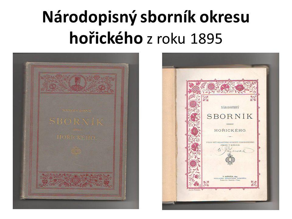 Národopisný sborník okresu hořického z roku 1895