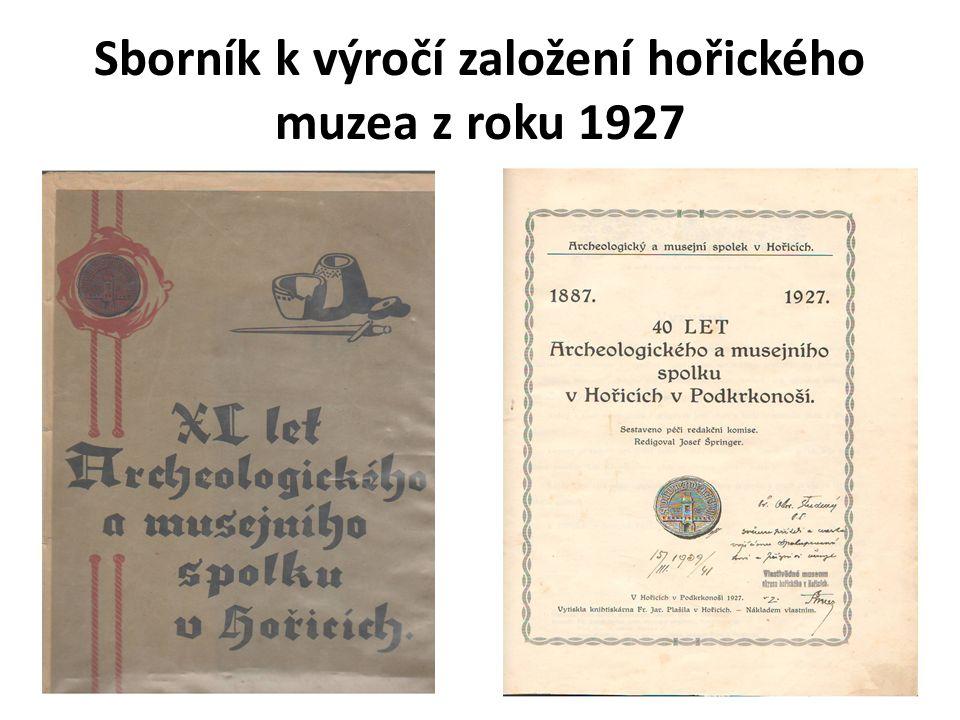 Sborník k výročí založení hořického muzea z roku 1927