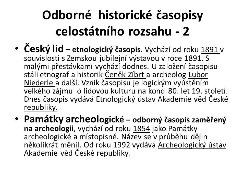 Odborné historické časopisy celostátního rozsahu - 2 Český lid – etnologický časopis.