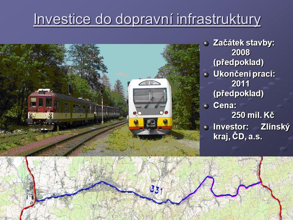 Investice do dopravní infrastruktury Začátek stavby: 2008 (předpoklad) Ukončení prací: 2011 (předpoklad) Cena: 250 mil.