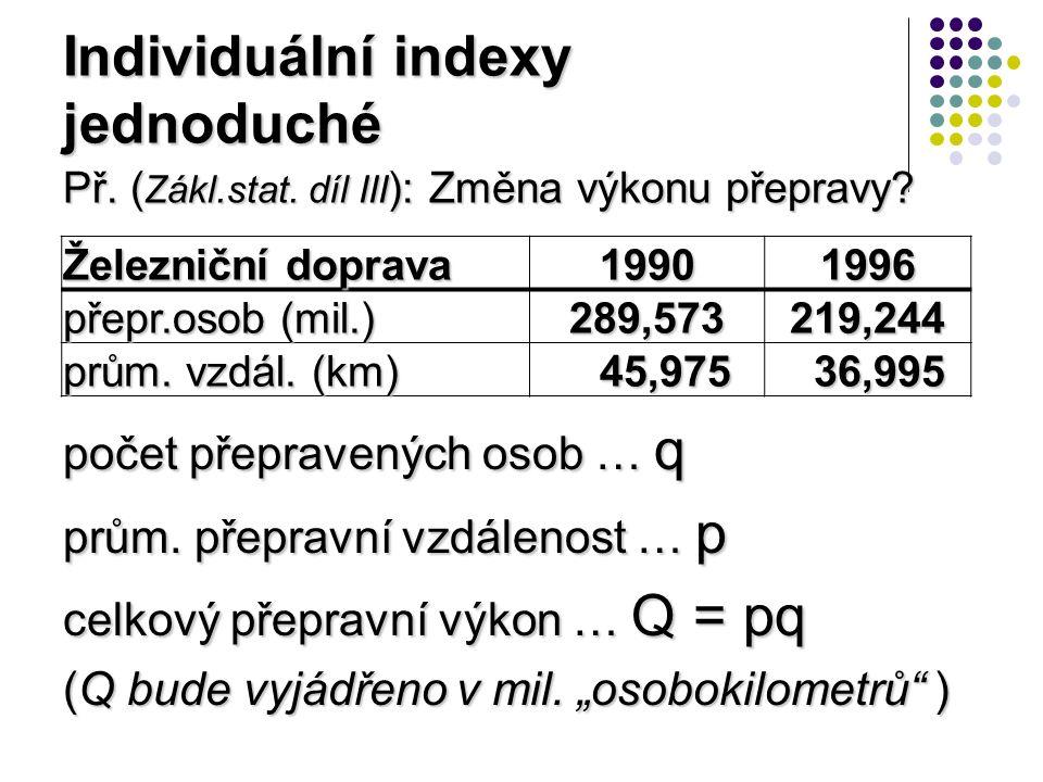 Indexy souhrnné pro heterogenní extenzitní údaje, kde nelze počítat úhrn (tuny rýže + tuny brambor…) Indexy souhrnné – cenové (pokud p=cena) Laspeyresův I p(La) = Σp 1 q 0 / Σp 0 q 0 Paascheův I p(Pa) = Σp 1 q 1 / Σp 0 q 1 Fisherův I p(Fi) = √(I La ·I Pa )
