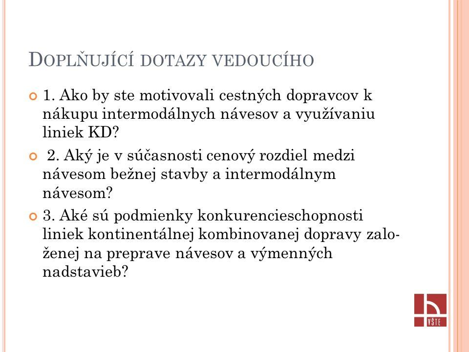 D OPLŇUJÍCÍ DOTAZY VEDOUCÍHO 1.