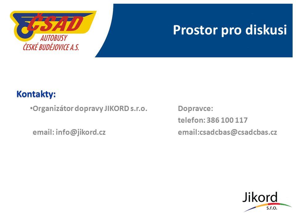 Prostor pro diskusi Kontakty: Organizátor dopravy JIKORD s.r.o.Dopravce: telefon: 386 100 117 email: info@jikord.cz email:csadcbas@csadcbas.cz