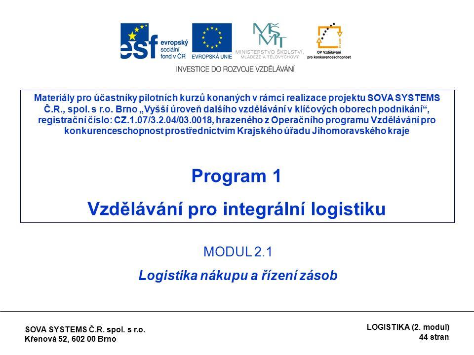 Hlavní úkoly: *orientované na trh a spojené s uzavíráním smluv (strategický nákup) *správní a fyzické úkoly spojené s tokem materiálu a zboží (operativní nákup - zásobovací logistika) (9)Nákup – management zásobování SOVA SYSTEMS Č.R.