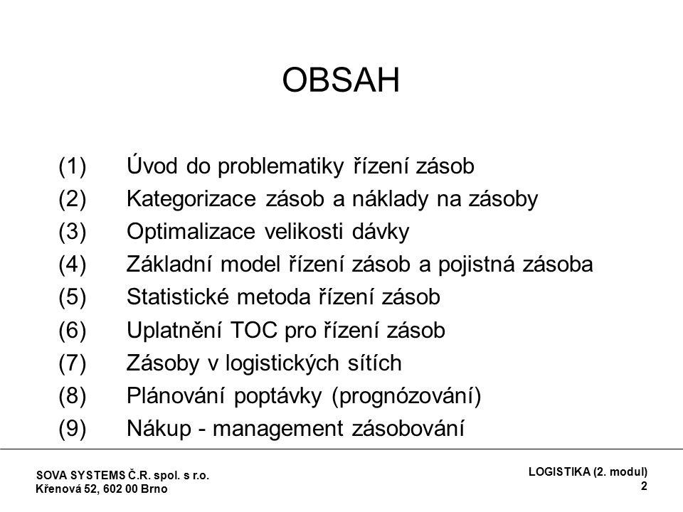 OBSAH (1)Úvod do problematiky řízení zásob (2) Kategorizace zásob a náklady na zásoby (3)Optimalizace velikosti dávky (4)Základní model řízení zásob a pojistná zásoba (5)Statistické metoda řízení zásob (6)Uplatnění TOC pro řízení zásob (7) Zásoby v logistických sítích (8) Plánování poptávky (prognózování) (9) Nákup - management zásobování SOVA SYSTEMS Č.R.