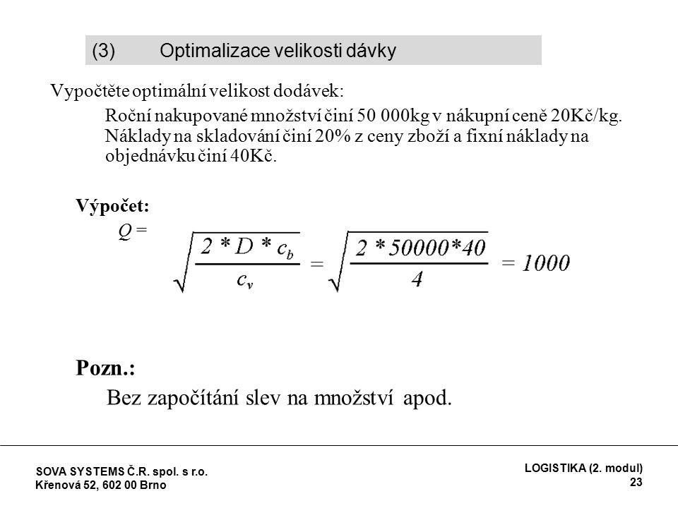 Vypočtěte optimální velikost dodávek:  Roční nakupované množství činí 50 000kg v nákupní ceně 20Kč/kg.