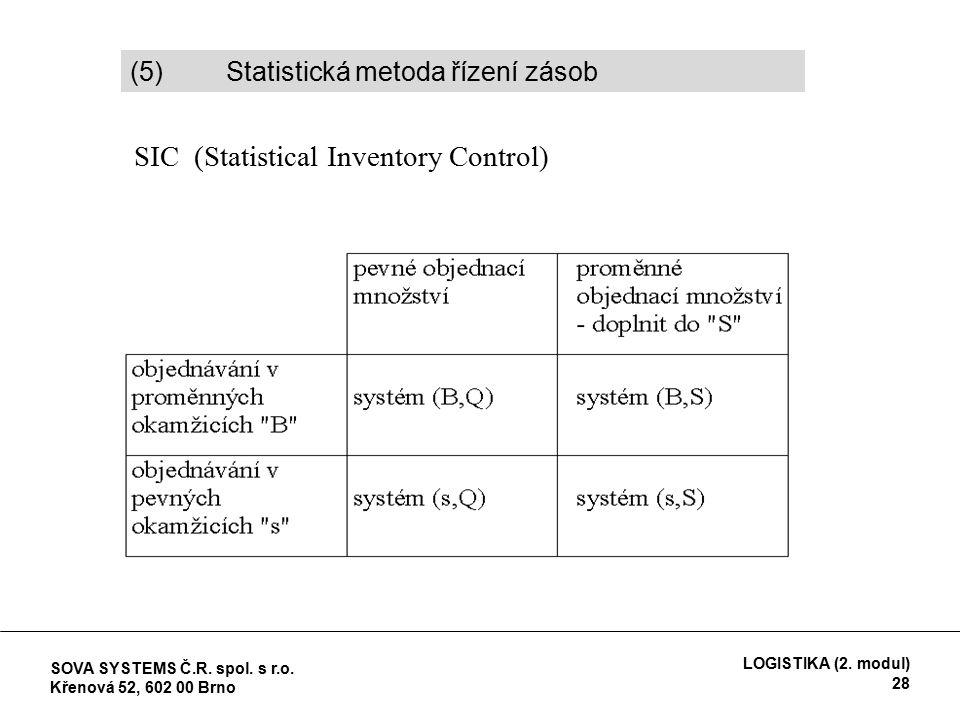 (5) Statistická metoda řízení zásob SIC (Statistical Inventory Control) SOVA SYSTEMS Č.R.