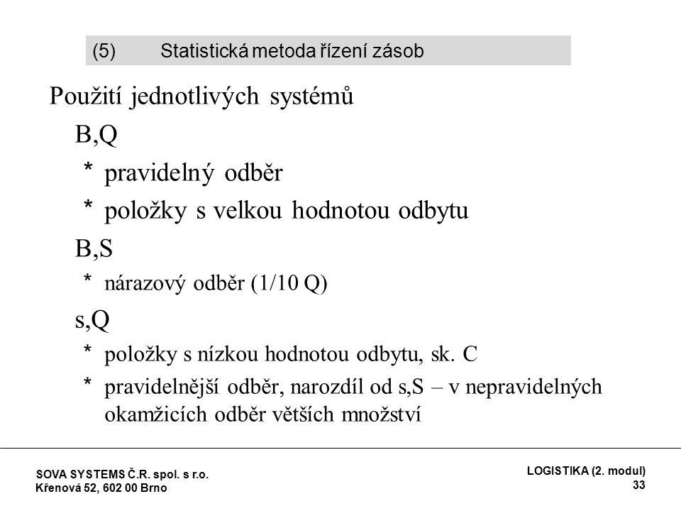 Použití jednotlivých systémů B,Q *pravidelný odběr *položky s velkou hodnotou odbytu B,S *nárazový odběr (1/10 Q) s,Q *položky s nízkou hodnotou odbytu, sk.