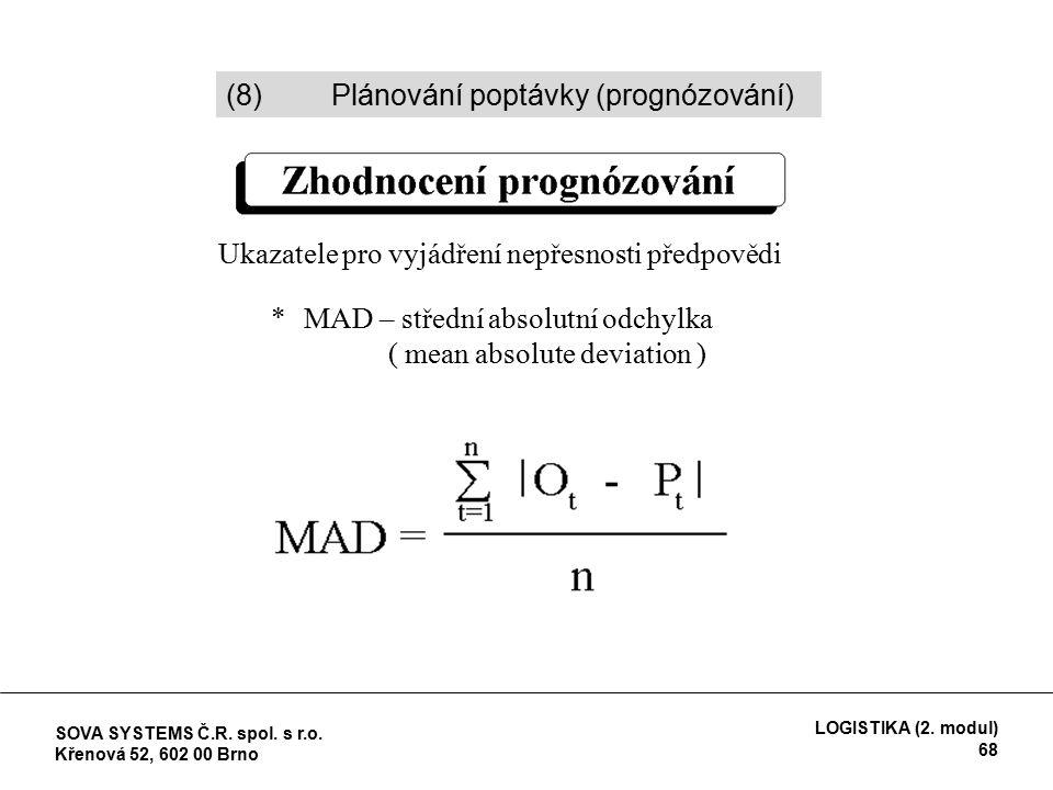 Ukazatele pro vyjádření nepřesnosti předpovědi *MAD – střední absolutní odchylka ( mean absolute deviation ) (8)Plánování poptávky (prognózování) SOVA SYSTEMS Č.R.