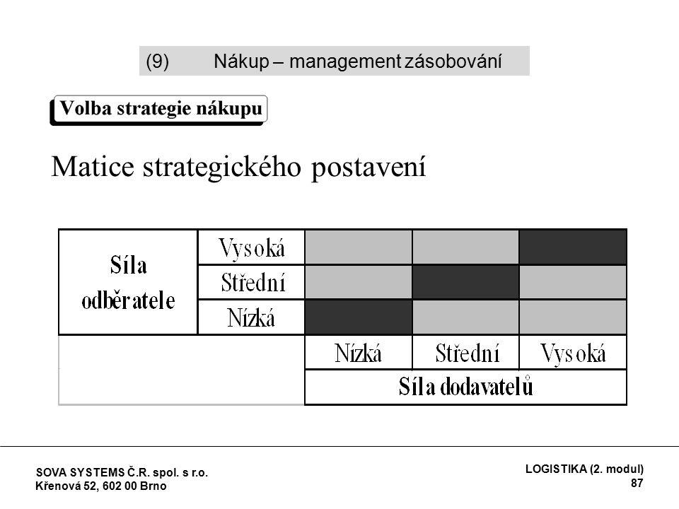 Matice strategického postavení (9)Nákup – management zásobování SOVA SYSTEMS Č.R.