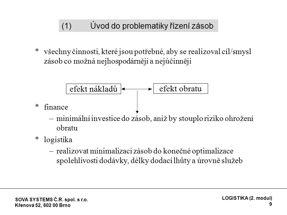 *všechny činnosti, které jsou potřebné, aby se realizoval cíl/smysl zásob co možná nejhospodárněji a nejúčinněji *finance –minimální investice do zásob, aniž by stouplo riziko ohrožení obratu *logistika –realizovat minimalizaci zásob do konečné optimalizace spolehlivosti dodávky, délky dodací lhůty a úrovně služeb efekt nákladů efekt obratu (1)Úvod do problematiky řízení zásob SOVA SYSTEMS Č.R.