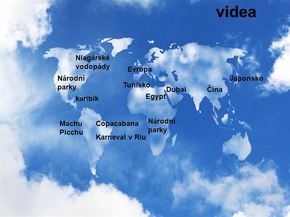videa Copacabana Karneval v Riu Machu Picchu karibik Národní parky Niagárské vodopády Národní parky Egypt DubaiČína Japonsko Evropa Tunisko