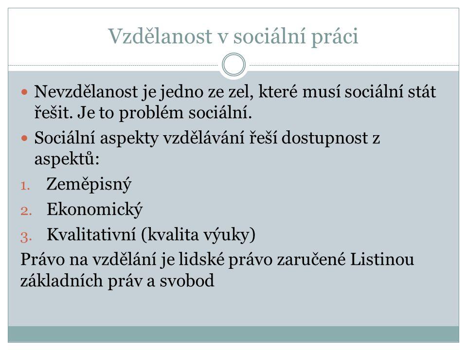 Vzdělanost v sociální práci Nevzdělanost je jedno ze zel, které musí sociální stát řešit. Je to problém sociální. Sociální aspekty vzdělávání řeší dos