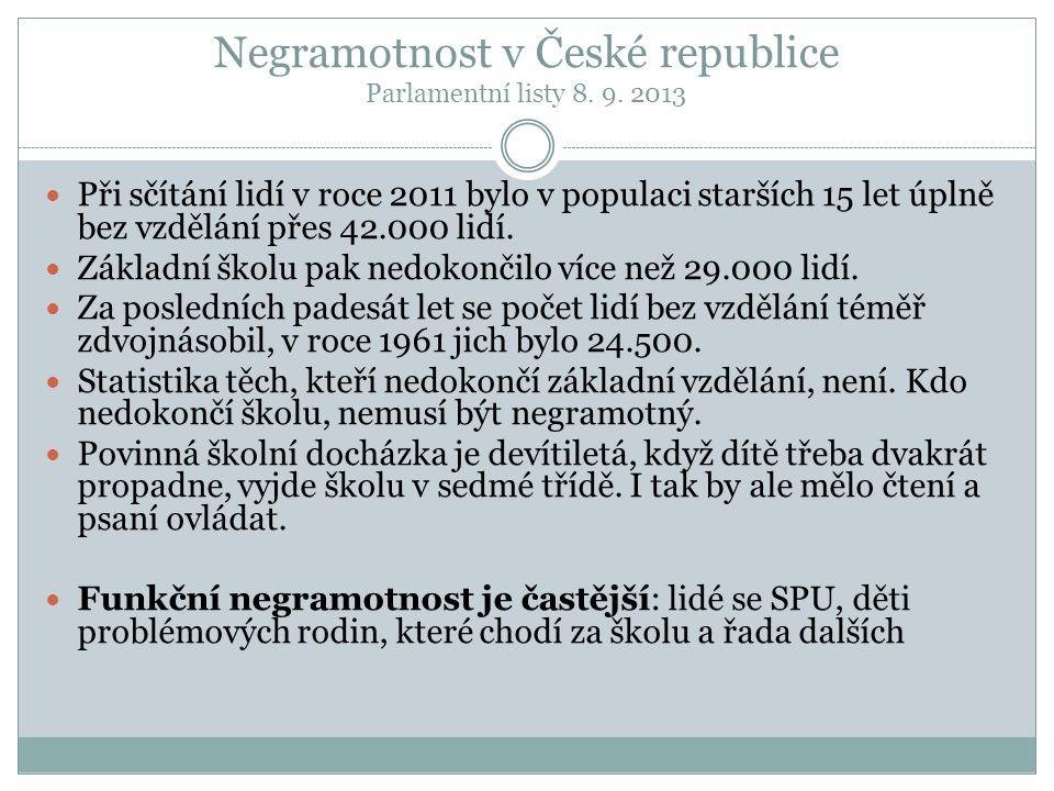 Negramotnost v České republice Parlamentní listy 8. 9. 2013 Při sčítání lidí v roce 2011 bylo v populaci starších 15 let úplně bez vzdělání přes 42.00