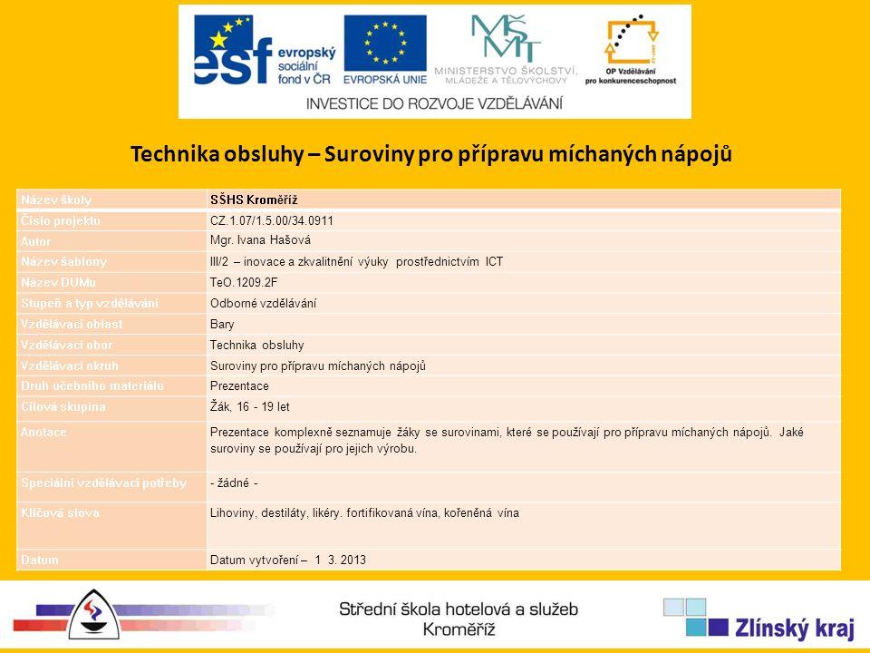Technika obsluhy – Suroviny pro přípravu míchaných nápojů Název školySŠHS Kroměříž Číslo projektuCZ.1.07/1.5.00/34.0911 Autor Mgr.