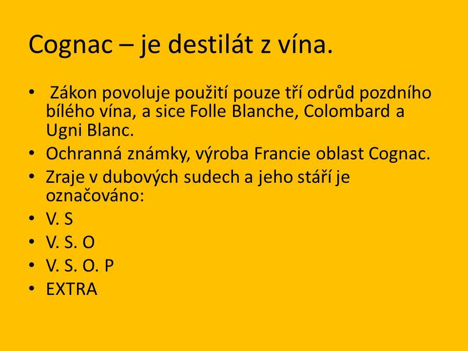 Cognac – je destilát z vína.