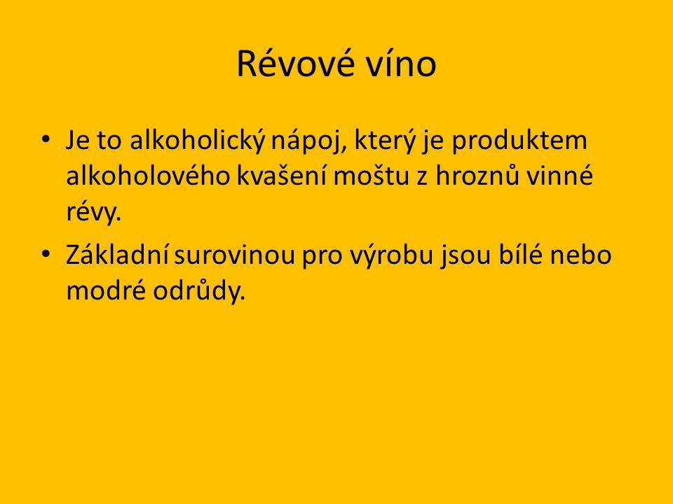 Révové víno Je to alkoholický nápoj, který je produktem alkoholového kvašení moštu z hroznů vinné révy.