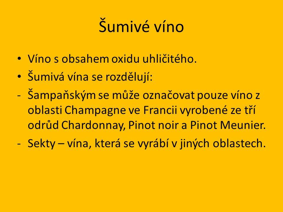 Šumivé víno Víno s obsahem oxidu uhličitého.