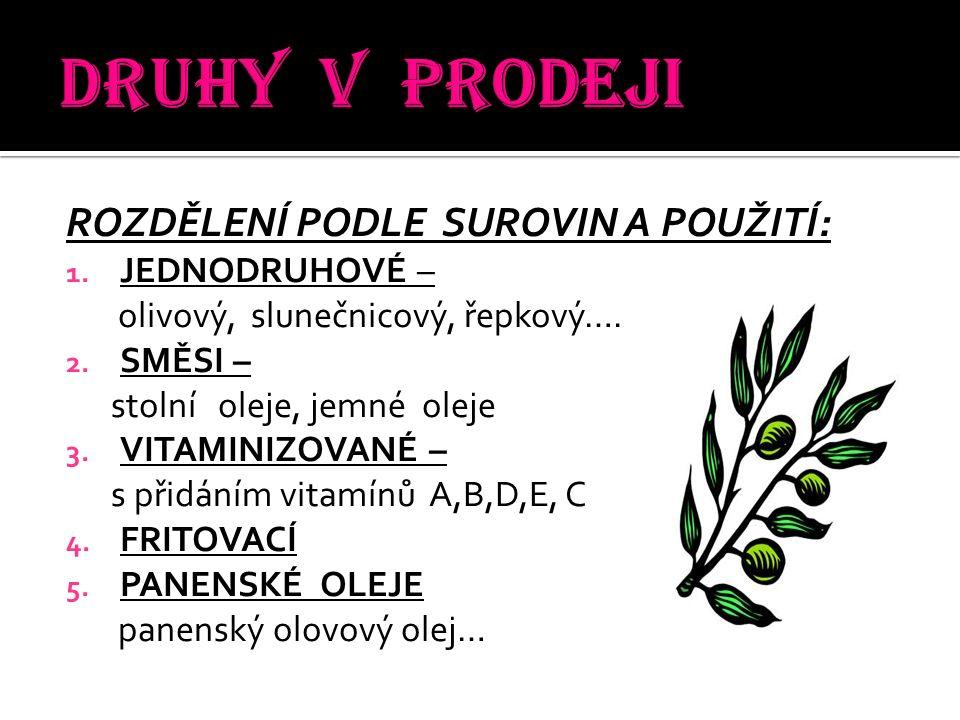 ROZDĚLENÍ PODLE SUROVIN A POUŽITÍ: 1. JEDNODRUHOVÉ – olivový, slunečnicový, řepkový….