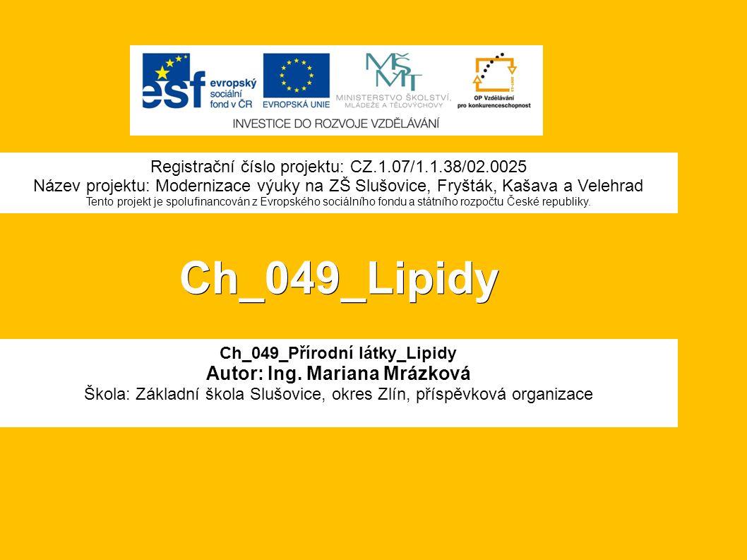Ch_049_Lipidy Ch_049_Přírodní látky_Lipidy Autor: Ing.