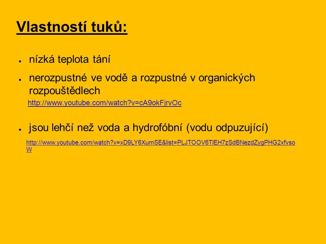 Vlastností tuků: ● nízká teplota tání ● nerozpustné ve vodě a rozpustné v organických rozpouštědlech ● jsou lehčí než voda a hydrofóbní (vodu odpuzující) http://www.youtube.com/watch?v=xD9LY6XumSE&list=PLJTOOV6TlEH7zSdBNezdZygPHG2xfvso W http://www.youtube.com/watch?v=cA9okFjrvOc