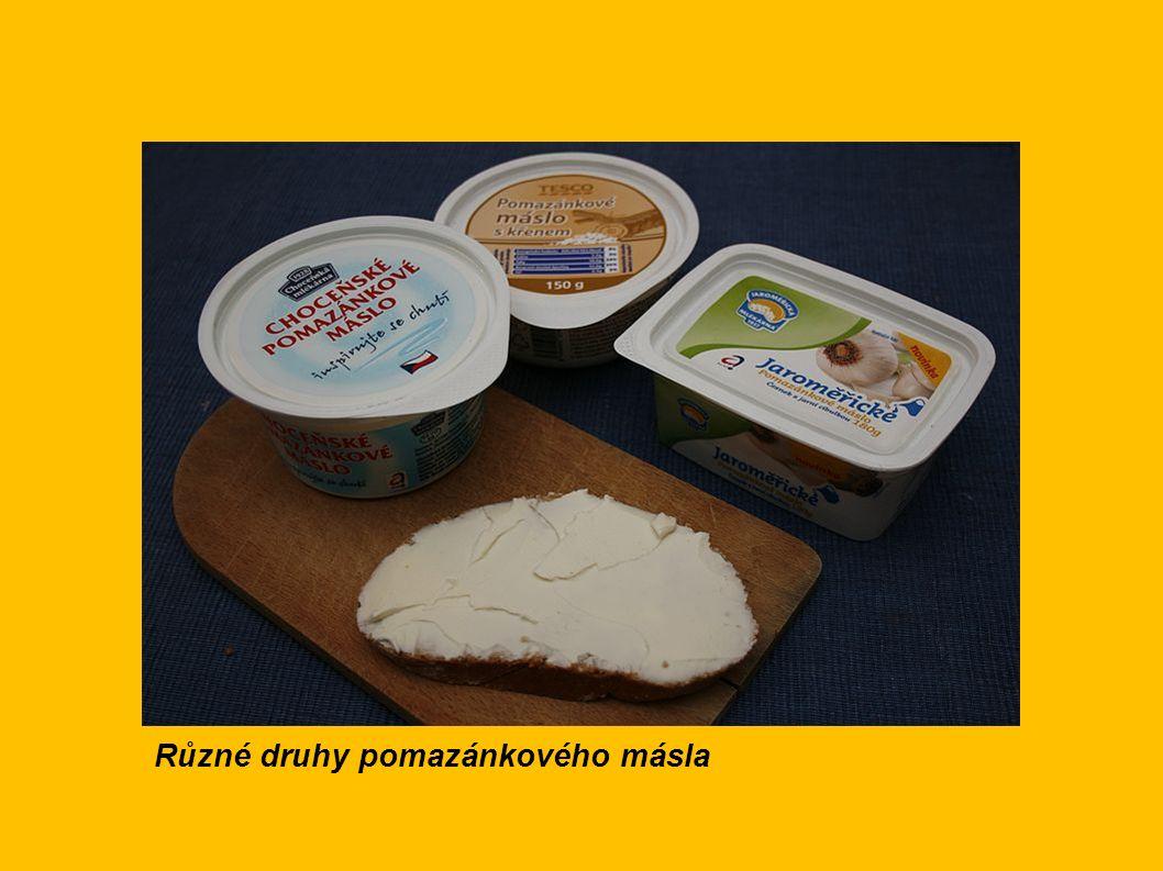 Různé druhy pomazánkového másla