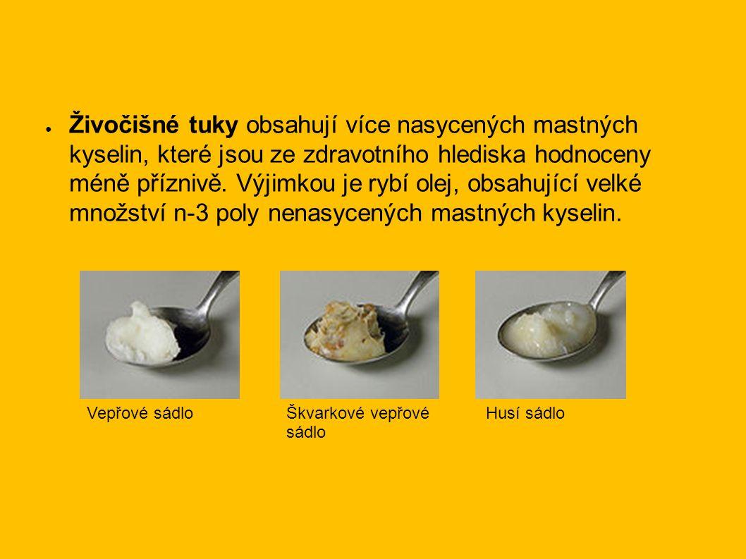 ● Živočišné tuky obsahují více nasycených mastných kyselin, které jsou ze zdravotního hlediska hodnoceny méně příznivě.