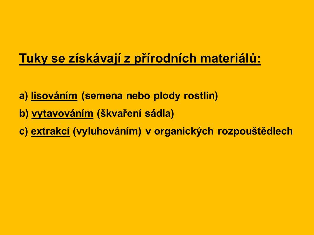 Tuky se získávají z přírodních materiálů: a) lisováním (semena nebo plody rostlin) b) vytavováním (škvaření sádla) c) extrakcí (vyluhováním) v organických rozpouštědlech
