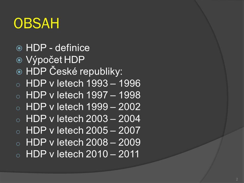  HDP Slovenské republiky: o HDP v letech 1993 – 1998 o HDP v letech 1999 – 2002 o HDP v letech 2003 – 2005 o HDP v letech 2006 – 2008 o HDP v letech 2009 – 2011 3