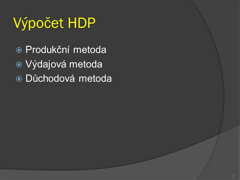 Výpočet HDP  Produkční metoda  Výdajová metoda  Důchodová metoda 5