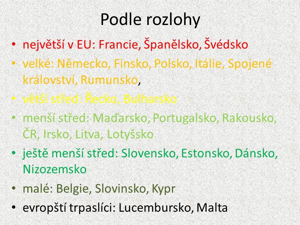 podle počtu obyvatel nejlidnatější: Německo je jich také hodně (cca 60 mil.): Francie, Spojené království, Itálie spousty lidí: Španělsko, Polsko lepší průměr: Rumunsko, Nizozemsko průměr (okolo 10 mil.): Řecko, Belgie, Portugalsko, ČR, Maďarsko, Rakousko, Švédsko, Bulharsko menší: Dánsko, Finsko, Slovensko, Irsko, Litva, Lotyšsko, Slovinsko, Estonsko nejmenší: Kypr, Lucembursko, Malta