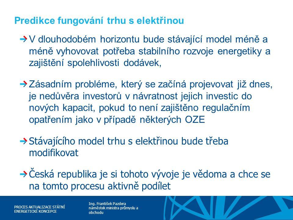 Ing. František Pazdera náměstek ministra průmyslu a obchodu PROCES AKTUALIZACE STÁTNÍ ENERGETICKÉ KONCEPCE Predikce fungování trhu s elektřinou V dlou