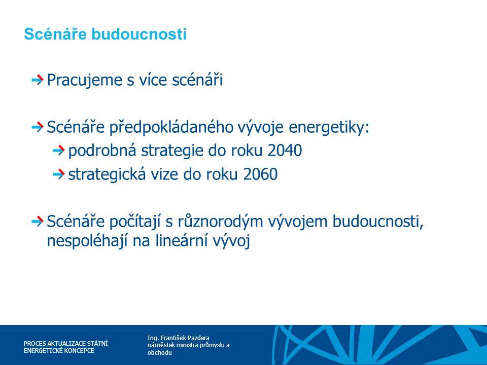 Ing. František Pazdera náměstek ministra průmyslu a obchodu PROCES AKTUALIZACE STÁTNÍ ENERGETICKÉ KONCEPCE Scénáře budoucnosti Pracujeme s více scénář