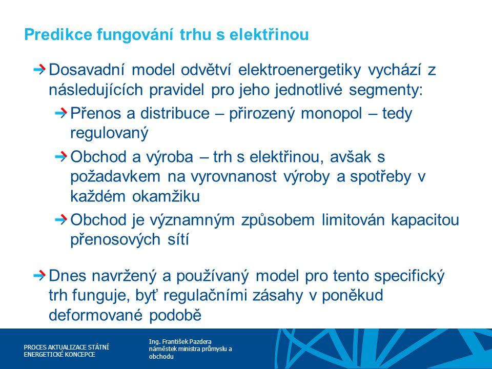 Ing. František Pazdera náměstek ministra průmyslu a obchodu PROCES AKTUALIZACE STÁTNÍ ENERGETICKÉ KONCEPCE Predikce fungování trhu s elektřinou Dosava