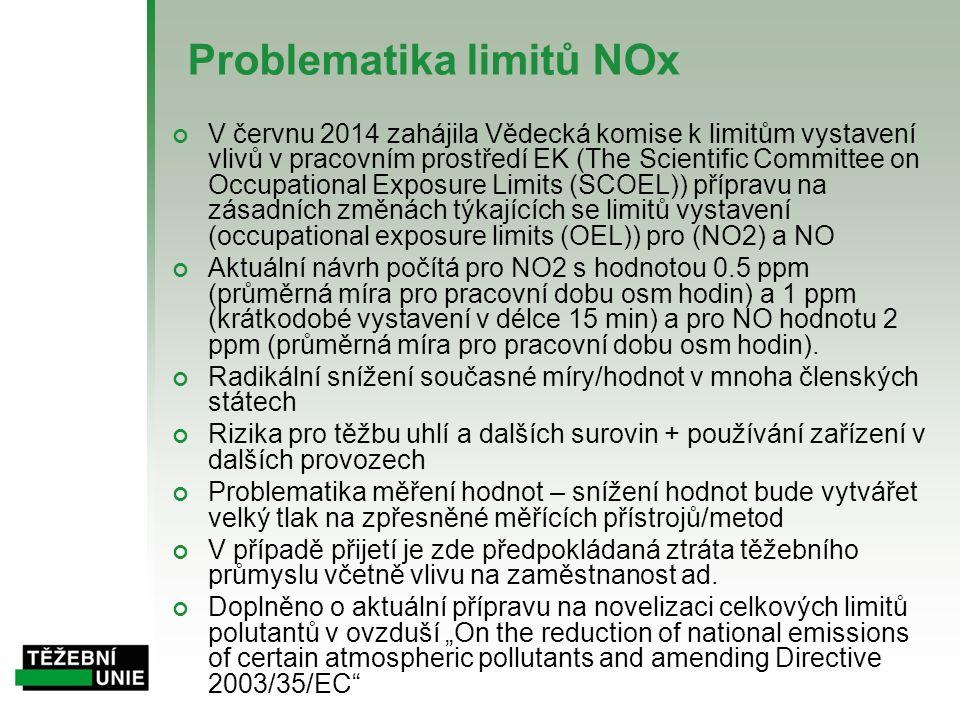 Problematika limitů NOx V červnu 2014 zahájila Vědecká komise k limitům vystavení vlivů v pracovním prostředí EK (The Scientific Committee on Occupational Exposure Limits (SCOEL)) přípravu na zásadních změnách týkajících se limitů vystavení (occupational exposure limits (OEL)) pro (NO2) a NO Aktuální návrh počítá pro NO2 s hodnotou 0.5 ppm (průměrná míra pro pracovní dobu osm hodin) a 1 ppm (krátkodobé vystavení v délce 15 min) a pro NO hodnotu 2 ppm (průměrná míra pro pracovní dobu osm hodin).