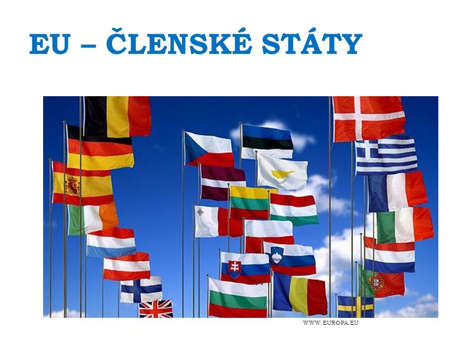EU – ČLENSKÉ STÁTY Rakousko (1995) Belgie (1952) Bulharsko (2007) Kypr (2004) Česká republika (2004) Dánsko (1973) Estonsko (2004) Finsko (1995) Francie (1952) Německo (1952) Řecko (1981) Maďarsko (2004) Španělsko (1986) Irsko (1973) Itálie (1952) Lotyšsko (2004) Litva (2004) Lucembursko (1952) Malta (2004) Nizozemsko (1952) Polsko (2004) Portugalsko (1986) Rumunsko (2007) Slovensko (2004) Slovinsko (2004) Švédsko (1995) Spojené království (1973)