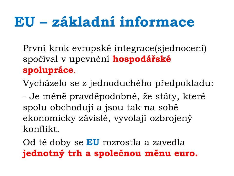 EU – základní informace První krok evropské integrace(sjednocení) spočíval v upevnění hospodářské spolupráce.