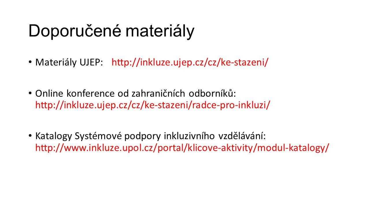 Doporučené materiály Materiály UJEP:http://inkluze.ujep.cz/cz/ke-stazeni/ Online konference od zahraničních odborníků: http://inkluze.ujep.cz/cz/ke-st