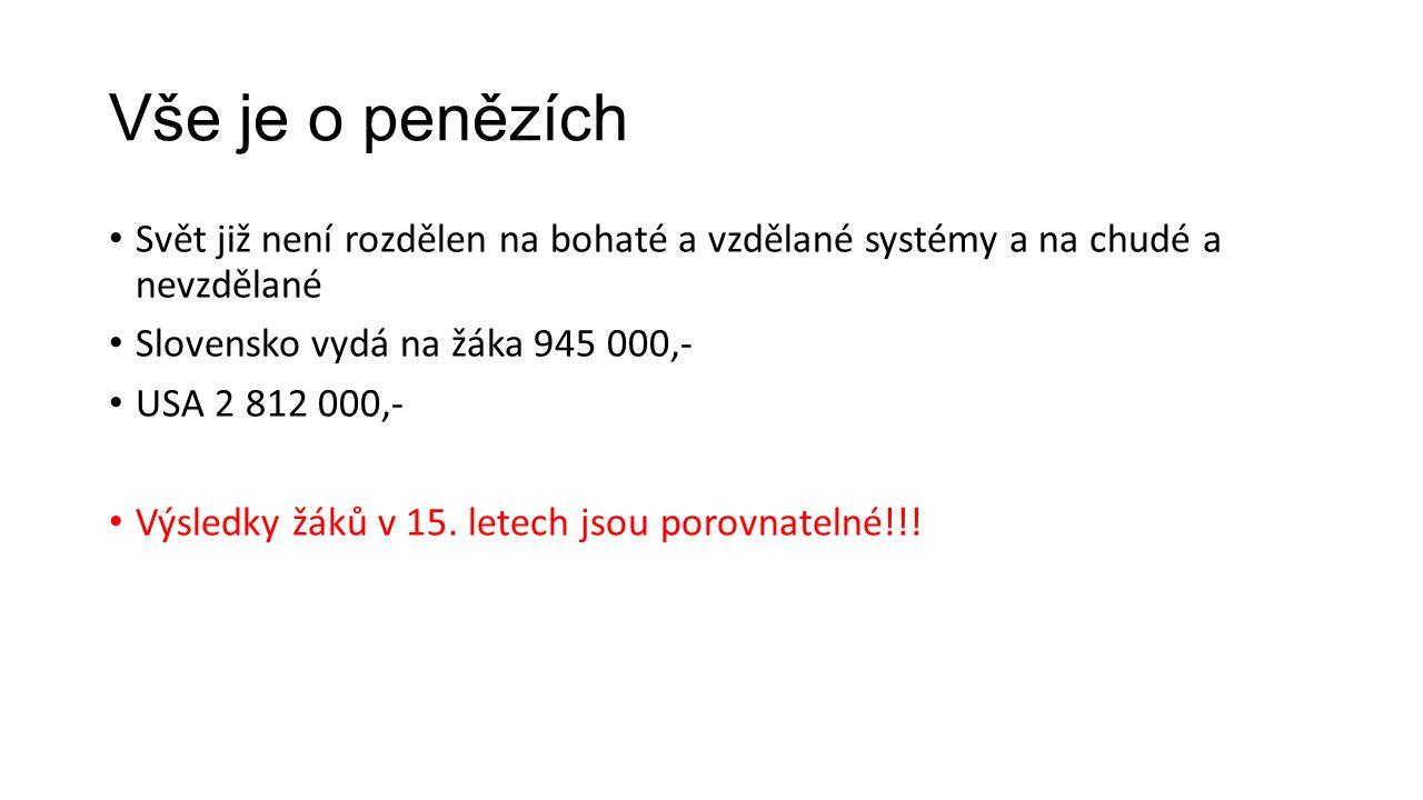 Vše je o penězích Svět již není rozdělen na bohaté a vzdělané systémy a na chudé a nevzdělané Slovensko vydá na žáka 945 000,- USA 2 812 000,- Výsledk