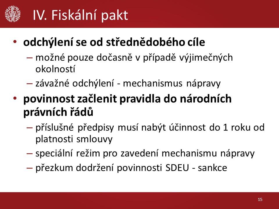 IV. Fiskální pakt odchýlení se od střednědobého cíle – možné pouze dočasně v případě výjimečných okolností – závažné odchýlení - mechanismus nápravy p