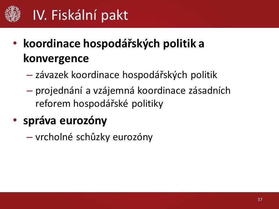 IV. Fiskální pakt koordinace hospodářských politik a konvergence – závazek koordinace hospodářských politik – projednání a vzájemná koordinace zásadní
