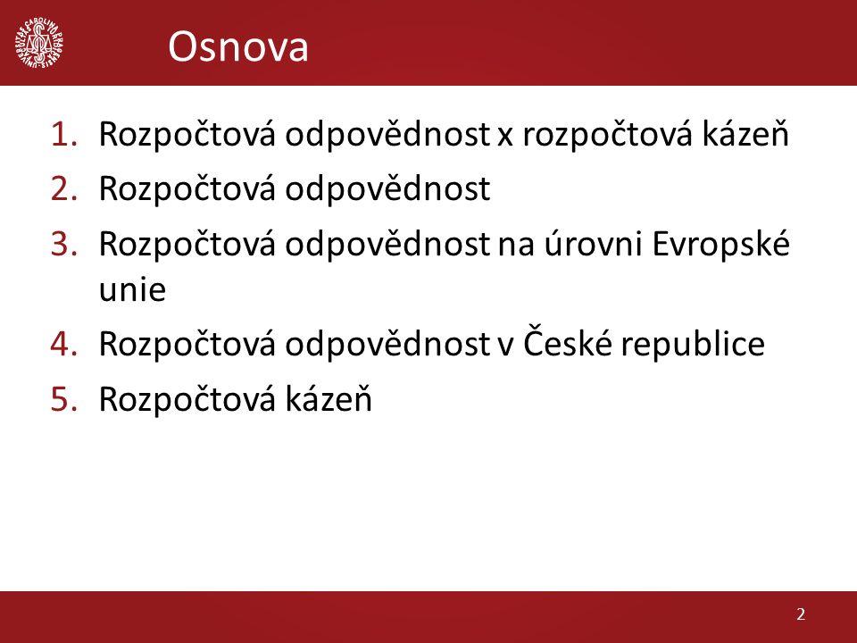 Osnova 1.Rozpočtová odpovědnost x rozpočtová kázeň 2.Rozpočtová odpovědnost 3.Rozpočtová odpovědnost na úrovni Evropské unie 4.Rozpočtová odpovědnost v České republice 5.Rozpočtová kázeň 2